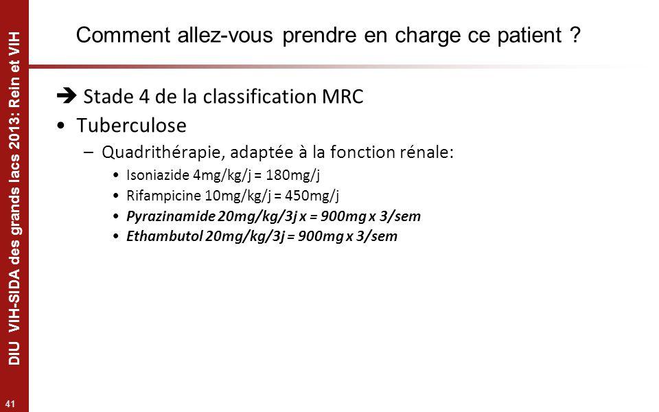 41 DIU VIH-SIDA des grands lacs 2013: Rein et VIH Comment allez-vous prendre en charge ce patient ? Stade 4 de la classification MRC Tuberculose –Quad