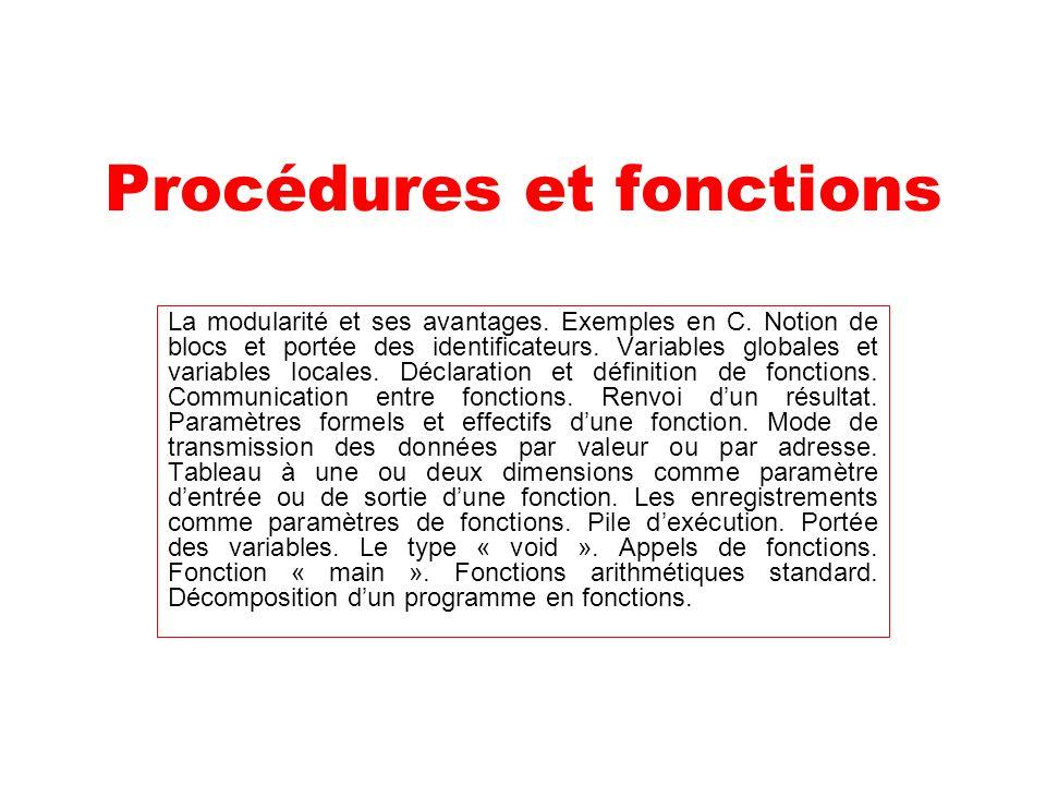 Procédures et fonctions La modularité et ses avantages. Exemples en C. Notion de blocs et portée des identificateurs. Variables globales et variables