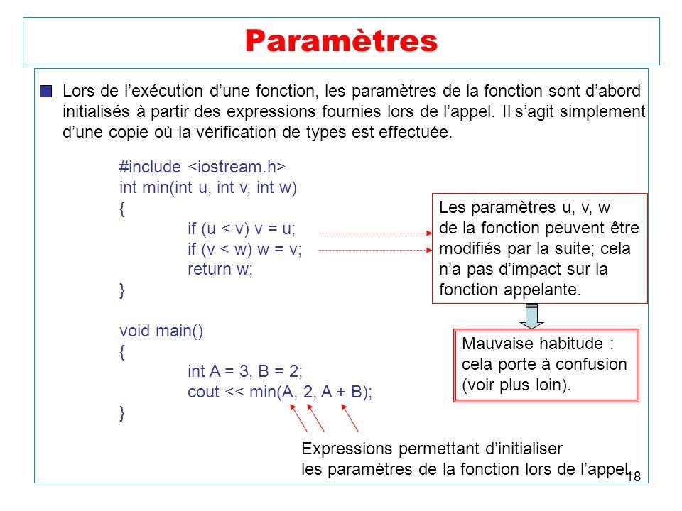 18 Paramètres Lors de lexécution dune fonction, les paramètres de la fonction sont dabord initialisés à partir des expressions fournies lors de lappel