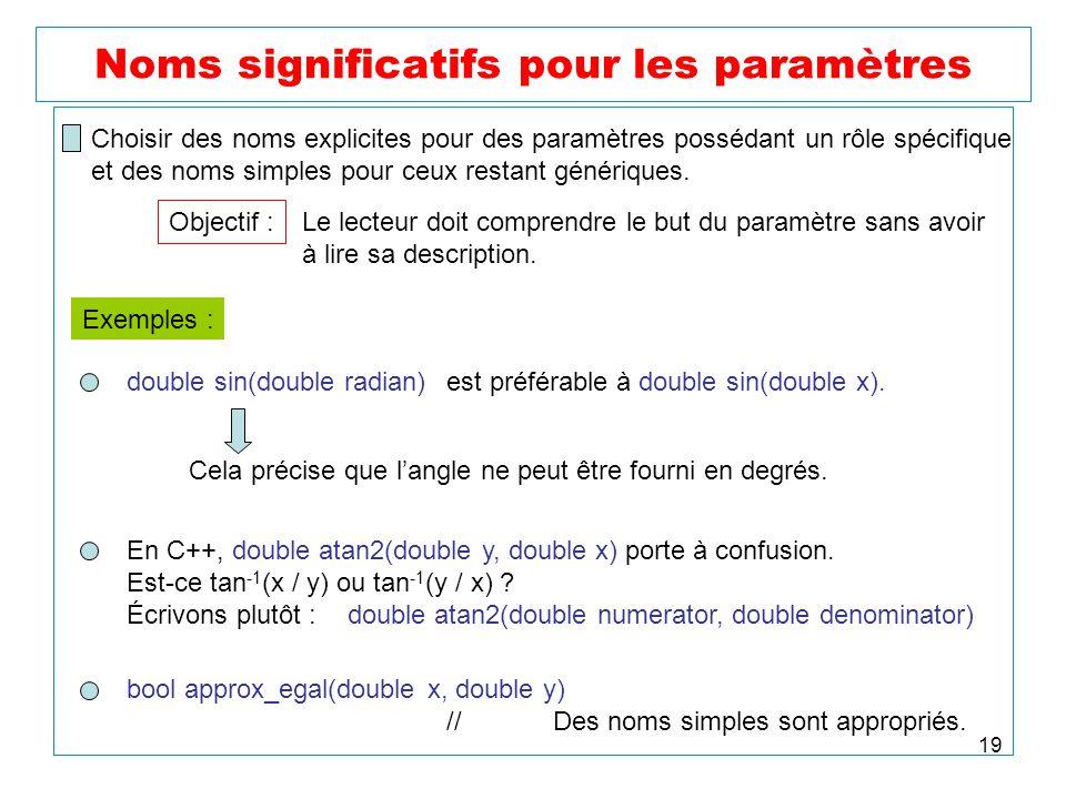 19 Noms significatifs pour les paramètres Choisir des noms explicites pour des paramètres possédant un rôle spécifique et des noms simples pour ceux r