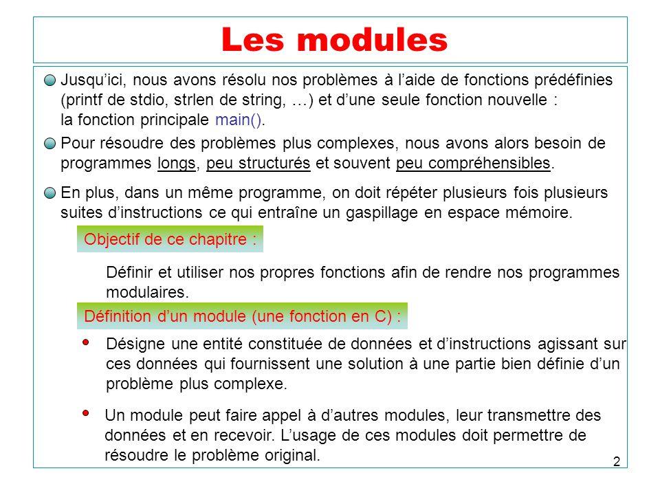 2 Les modules Jusquici, nous avons résolu nos problèmes à laide de fonctions prédéfinies (printf de stdio, strlen de string, …) et dune seule fonction