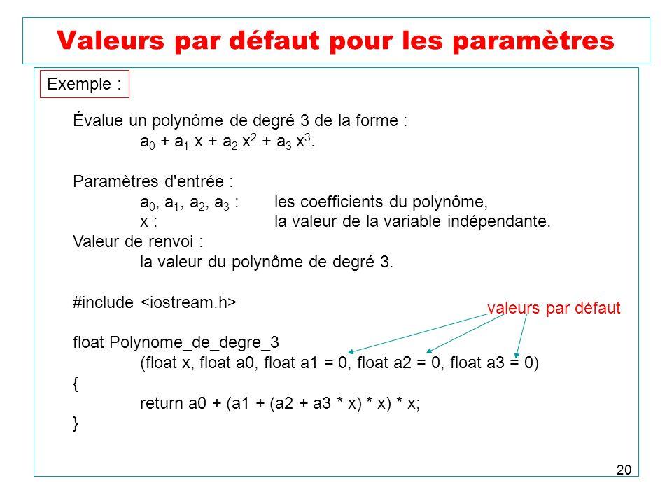20 Valeurs par défaut pour les paramètres Évalue un polynôme de degré 3 de la forme : a 0 + a 1 x + a 2 x 2 + a 3 x 3. Paramètres d'entrée : a 0, a 1,