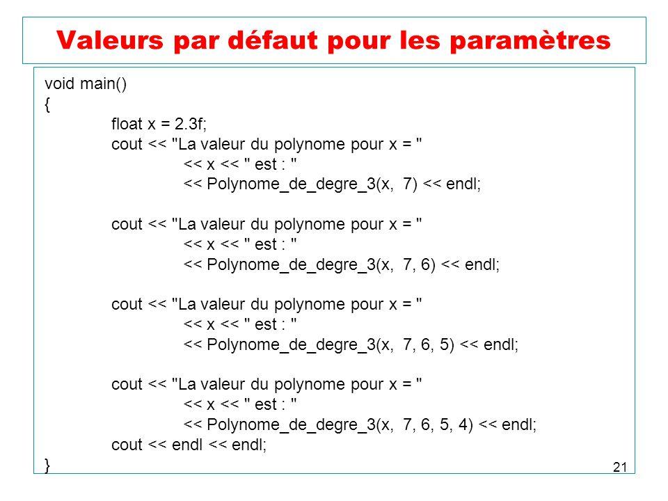21 Valeurs par défaut pour les paramètres void main() { float x = 2.3f; cout <<