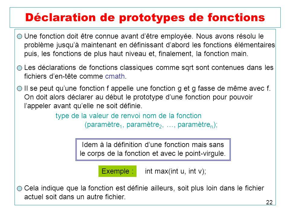 22 Déclaration de prototypes de fonctions Une fonction doit être connue avant dêtre employée. Nous avons résolu le problème jusquà maintenant en défin