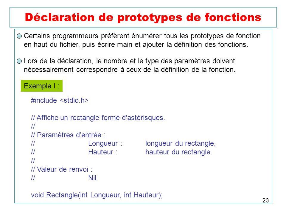 23 Déclaration de prototypes de fonctions Certains programmeurs préfèrent énumérer tous les prototypes de fonction en haut du fichier, puis écrire mai