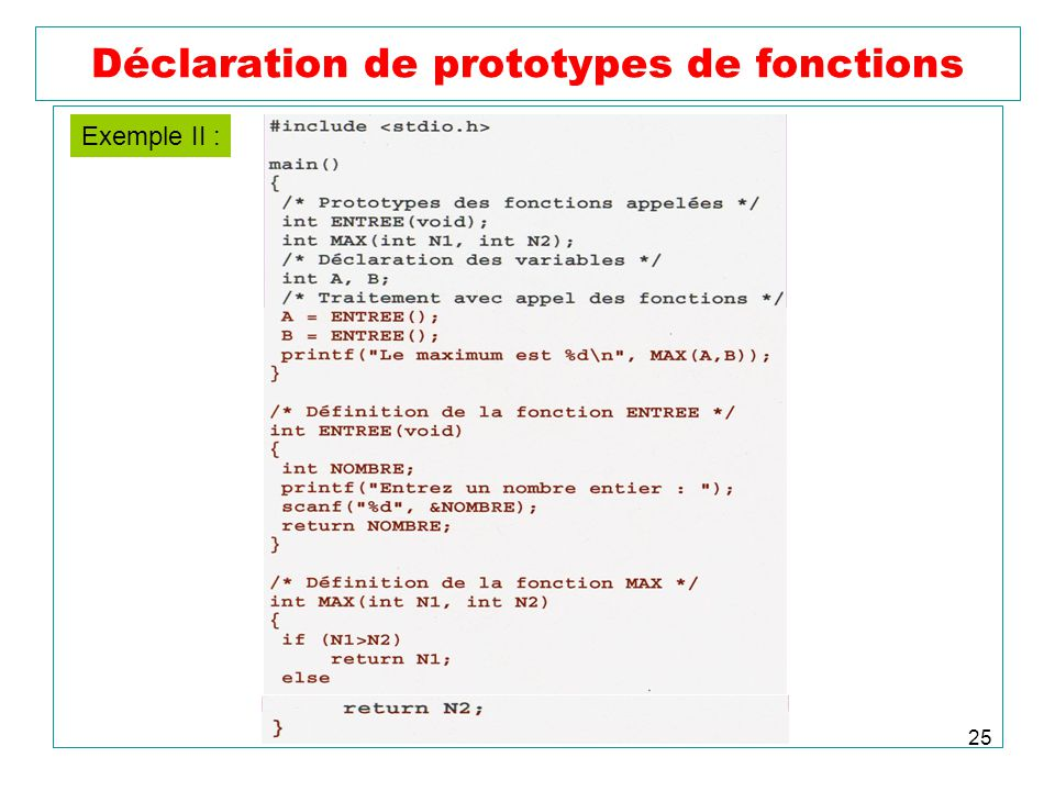 25 Déclaration de prototypes de fonctions Exemple II :