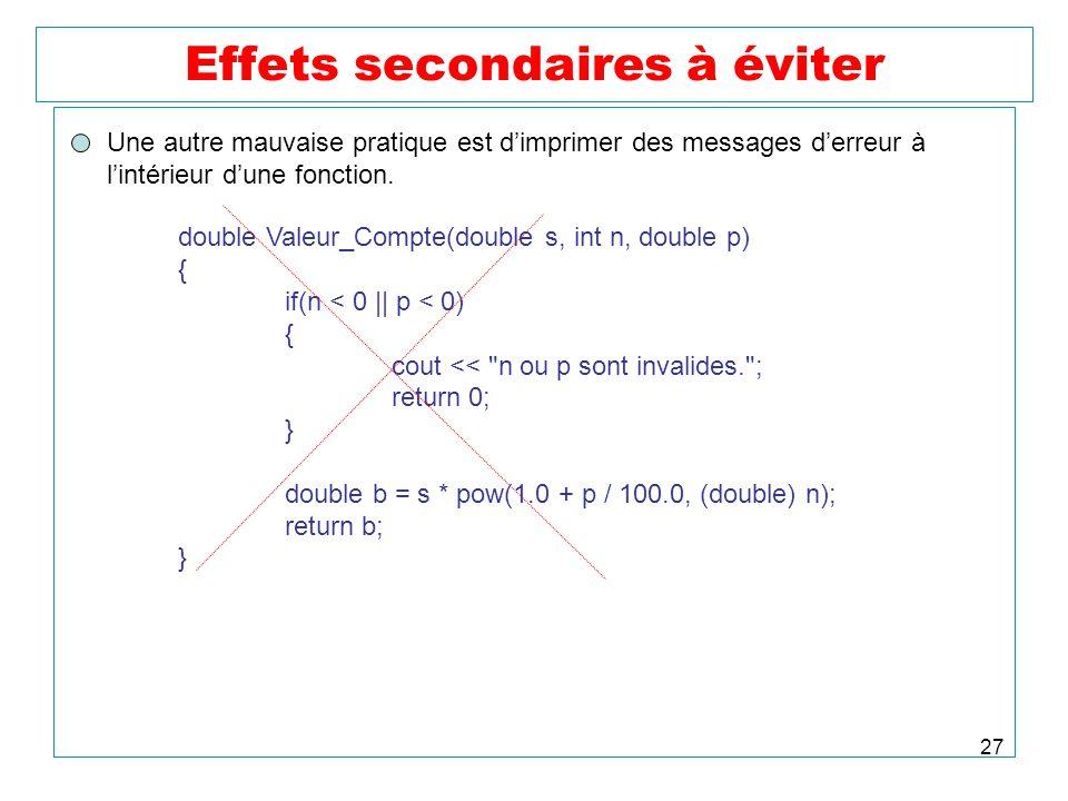 27 Effets secondaires à éviter Une autre mauvaise pratique est dimprimer des messages derreur à lintérieur dune fonction. double Valeur_Compte(double