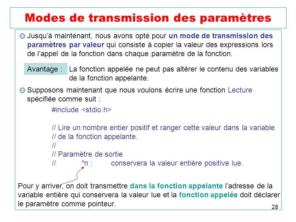 28 Modes de transmission des paramètres Jusquà maintenant, nous avons opté pour un mode de transmission des paramètres par valeur qui consiste à copie