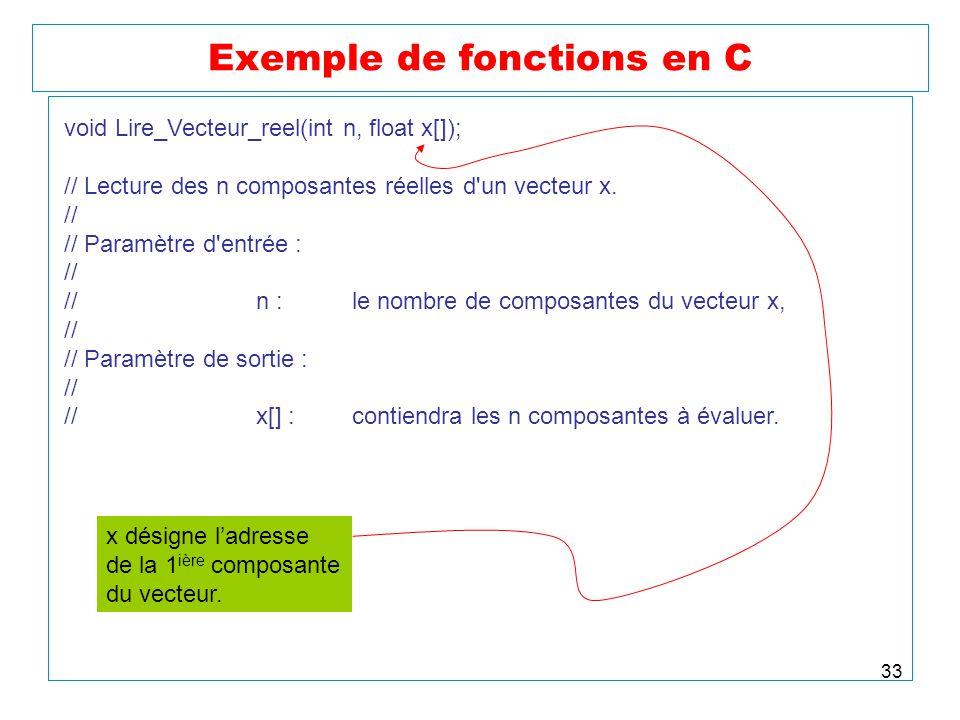 33 Exemple de fonctions en C void Lire_Vecteur_reel(int n, float x[]); // Lecture des n composantes réelles d'un vecteur x. // // Paramètre d'entrée :