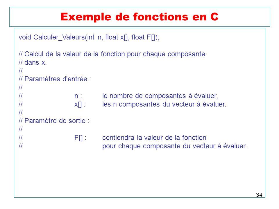 34 Exemple de fonctions en C void Calculer_Valeurs(int n, float x[], float F[]); // Calcul de la valeur de la fonction pour chaque composante // dans