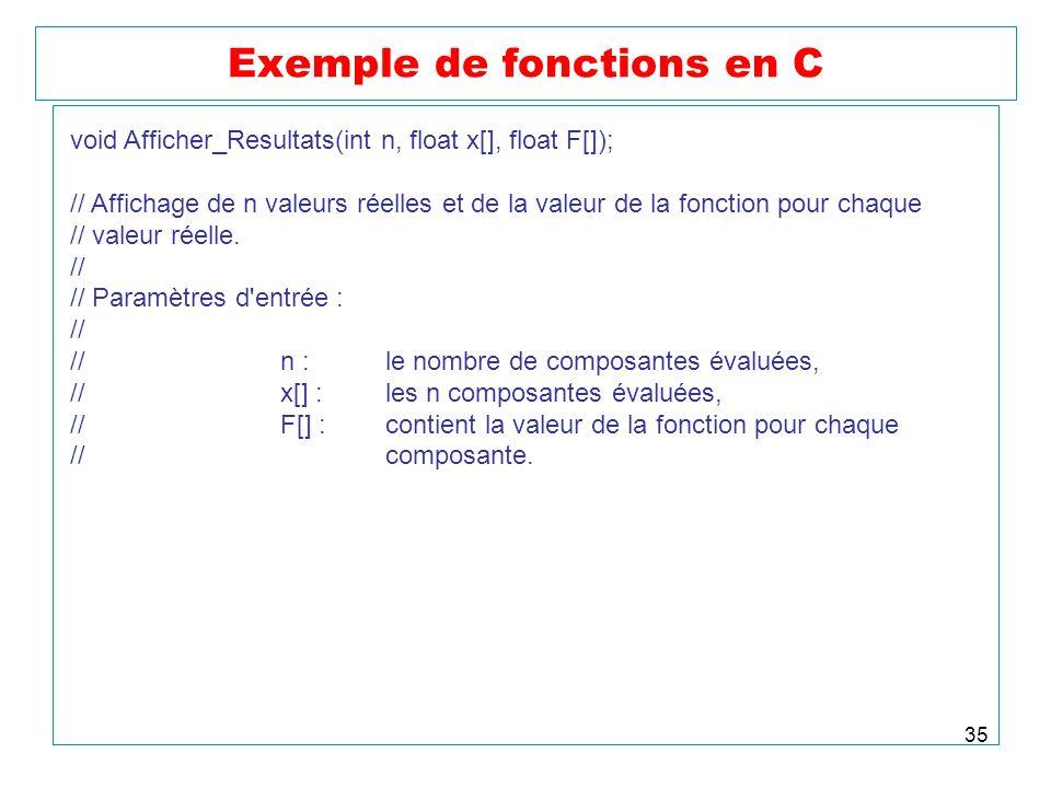 35 Exemple de fonctions en C void Afficher_Resultats(int n, float x[], float F[]); // Affichage de n valeurs réelles et de la valeur de la fonction po