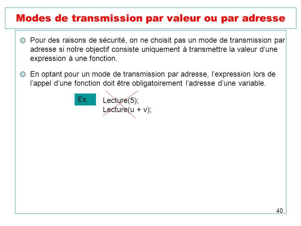 40 Modes de transmission par valeur ou par adresse Pour des raisons de sécurité, on ne choisit pas un mode de transmission par adresse si notre object
