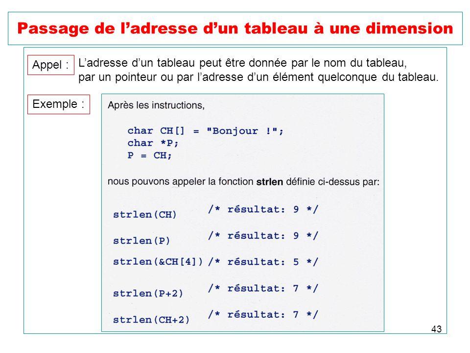 43 Passage de ladresse dun tableau à une dimension Appel : Ladresse dun tableau peut être donnée par le nom du tableau, par un pointeur ou par ladress