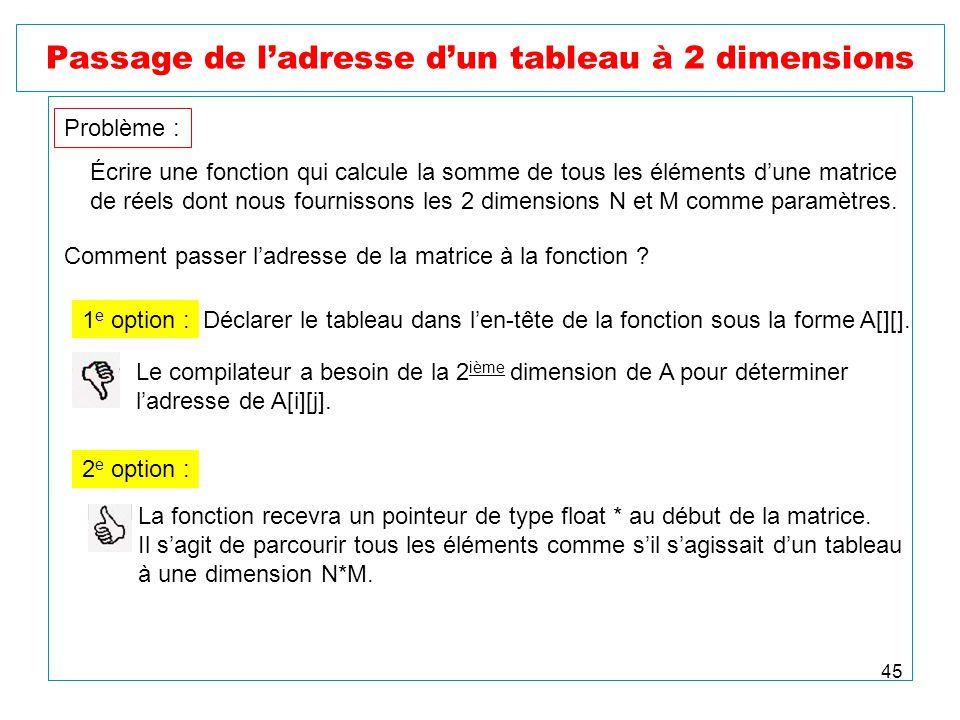 45 Passage de ladresse dun tableau à 2 dimensions Problème : Écrire une fonction qui calcule la somme de tous les éléments dune matrice de réels dont