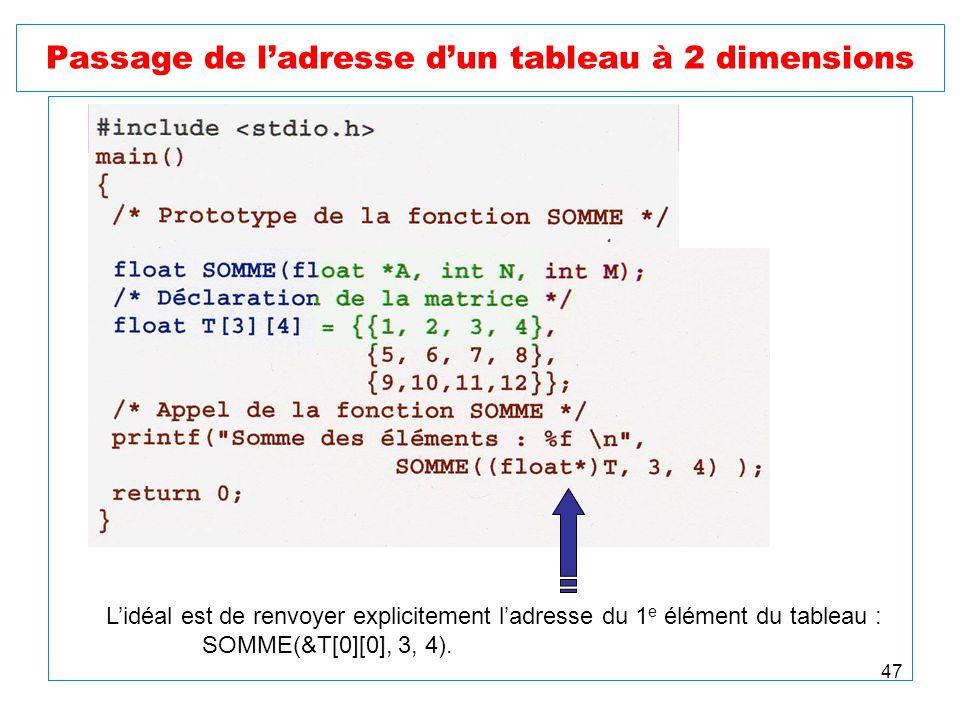 47 Passage de ladresse dun tableau à 2 dimensions Lidéal est de renvoyer explicitement ladresse du 1 e élément du tableau : SOMME(&T[0][0], 3, 4).