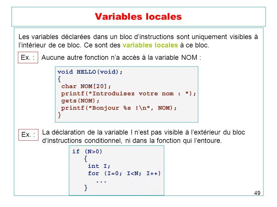 49 Variables locales Les variables déclarées dans un bloc dinstructions sont uniquement visibles à lintérieur de ce bloc. Ce sont des variables locale