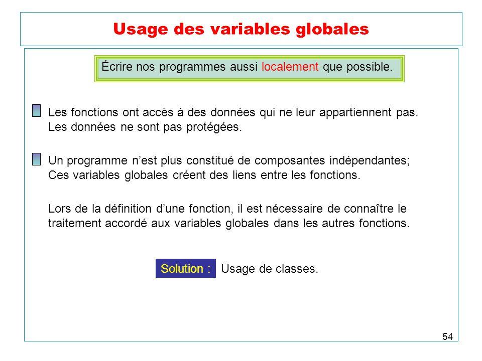54 Usage des variables globales Écrire nos programmes aussi localement que possible. Les fonctions ont accès à des données qui ne leur appartiennent p