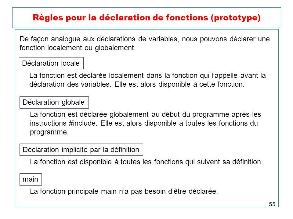 55 Règles pour la déclaration de fonctions (prototype) De façon analogue aux déclarations de variables, nous pouvons déclarer une fonction localement