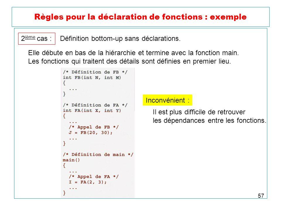 57 Règles pour la déclaration de fonctions : exemple 2 ième cas : Définition bottom-up sans déclarations. Elle débute en bas de la hiérarchie et termi