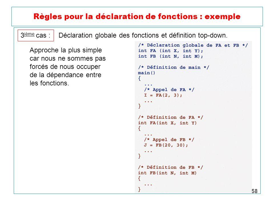 58 Règles pour la déclaration de fonctions : exemple 3 ième cas : Déclaration globale des fonctions et définition top-down. Approche la plus simple ca