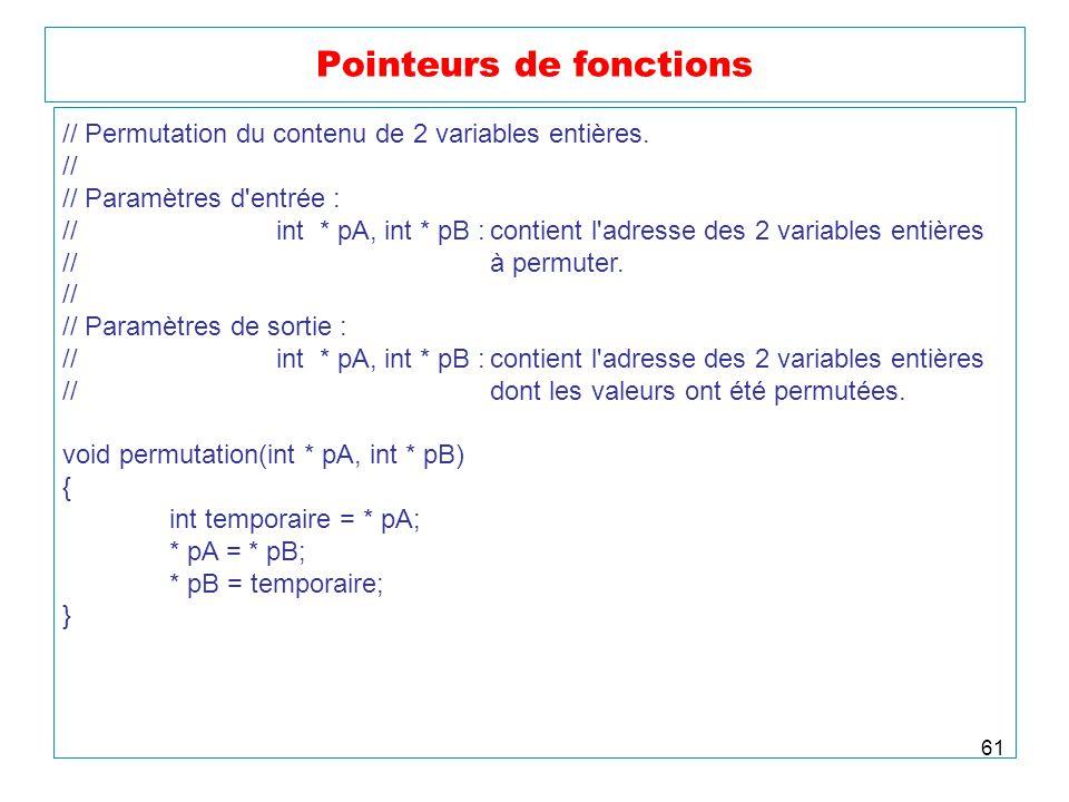 61 Pointeurs de fonctions // Permutation du contenu de 2 variables entières. // // Paramètres d'entrée : //int * pA, int * pB :contient l'adresse des