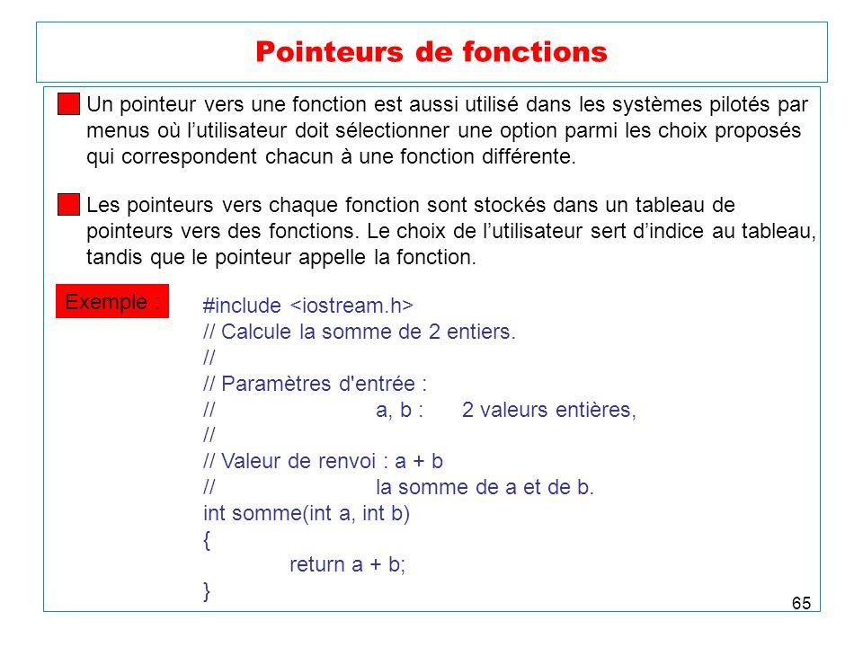 65 Pointeurs de fonctions Un pointeur vers une fonction est aussi utilisé dans les systèmes pilotés par menus où lutilisateur doit sélectionner une op
