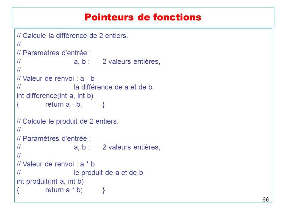 66 Pointeurs de fonctions // Calcule la différence de 2 entiers. // // Paramètres d'entrée : //a, b :2 valeurs entières, // // Valeur de renvoi : a -