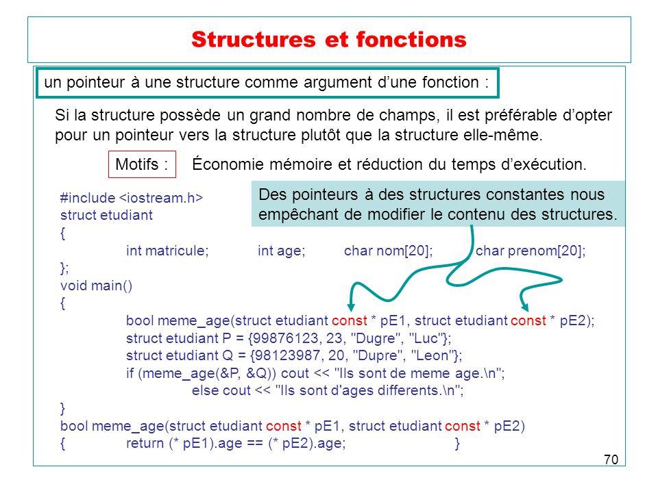 70 Structures et fonctions un pointeur à une structure comme argument dune fonction : Si la structure possède un grand nombre de champs, il est préfér