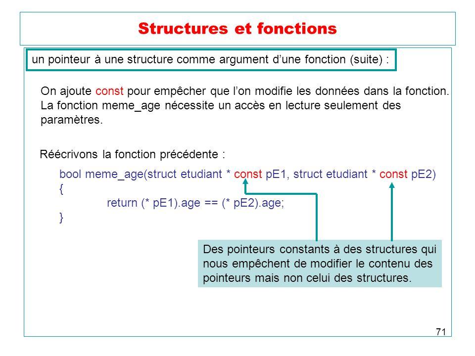 71 Structures et fonctions un pointeur à une structure comme argument dune fonction (suite) : On ajoute const pour empêcher que lon modifie les donnée