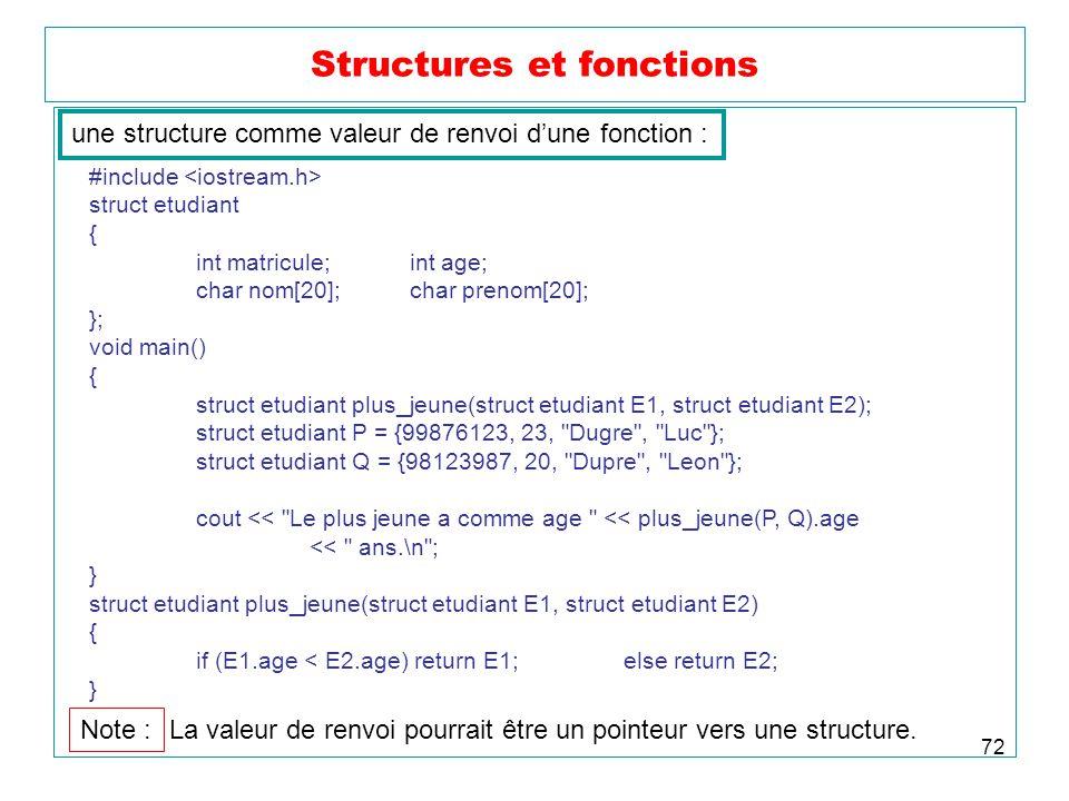 72 Structures et fonctions une structure comme valeur de renvoi dune fonction : #include struct etudiant { int matricule;int age; char nom[20];char pr