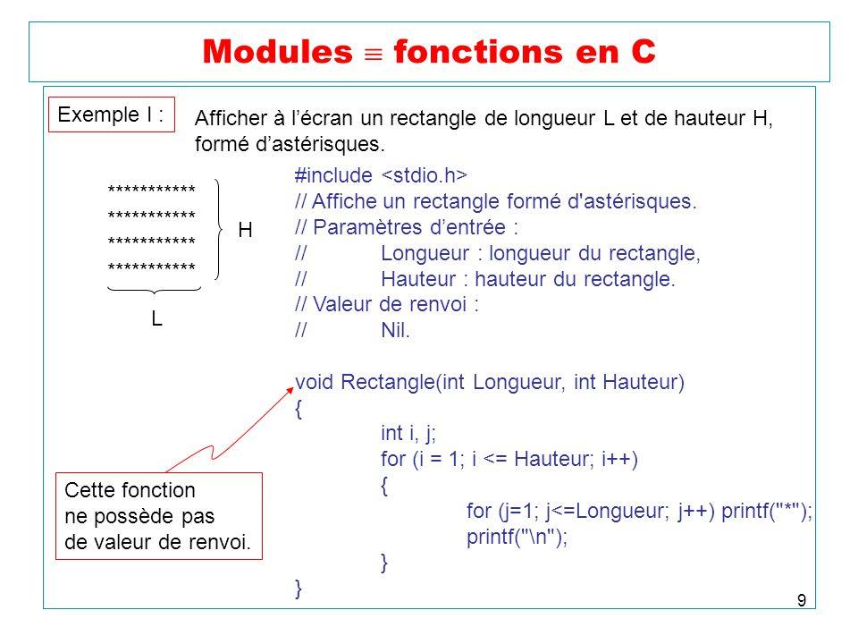 9 Modules fonctions en C Exemple I : Afficher à lécran un rectangle de longueur L et de hauteur H, formé dastérisques. ********************** H L #inc