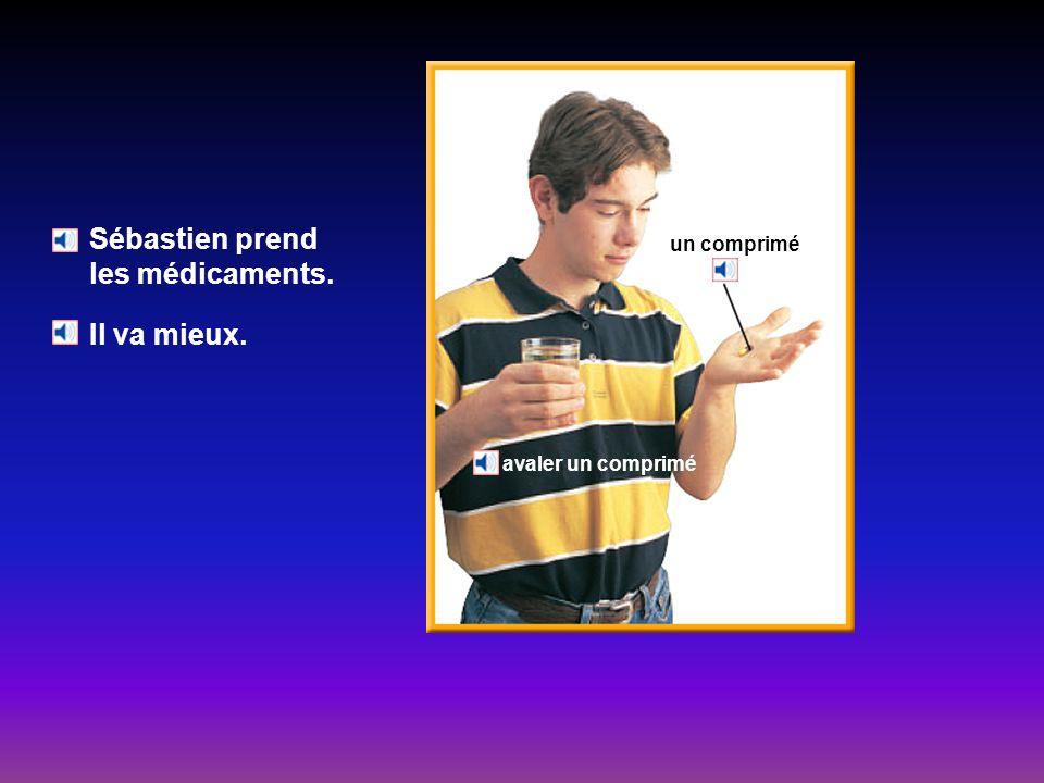 À la pharmacie Quest-ce que la pharmacienne donne à Sébastien? Elle lui donne des médicaments. la pharmacienne le pharmacien