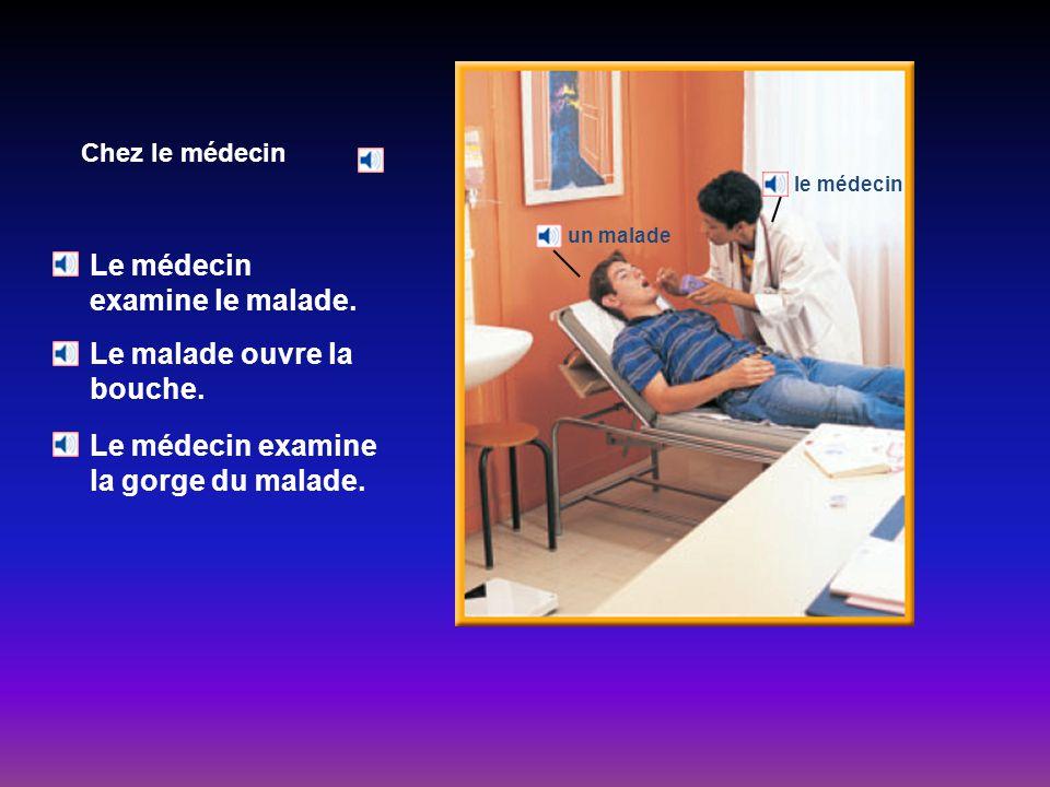 Chez le médecin Le médecin examine le malade.Le malade ouvre la bouche.