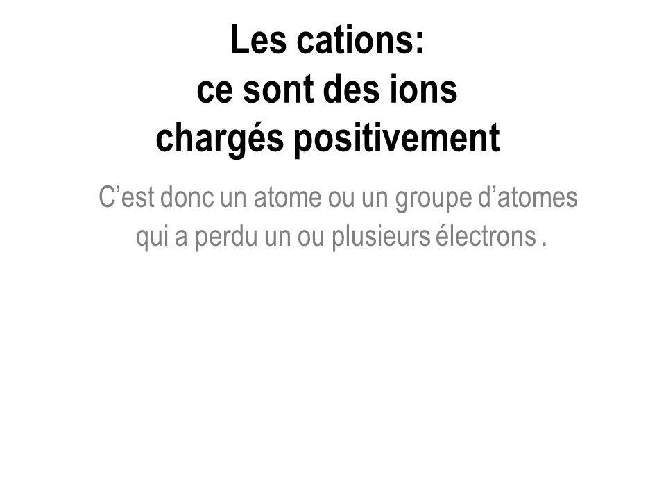 Les cations: ce sont des ions chargés positivement Cest donc un atome ou un groupe datomes qui a perdu un ou plusieurs électrons.