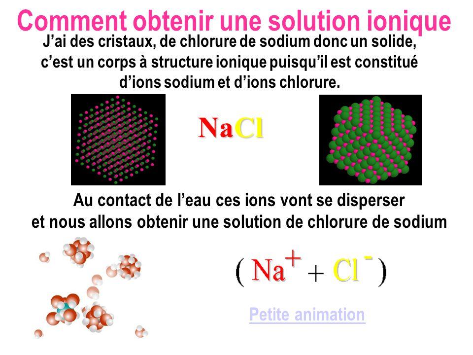 Petite animation Jai des cristaux, de chlorure de sodium donc un solide, cest un corps à structure ionique puisquil est constitué dions sodium et dions chlorure.