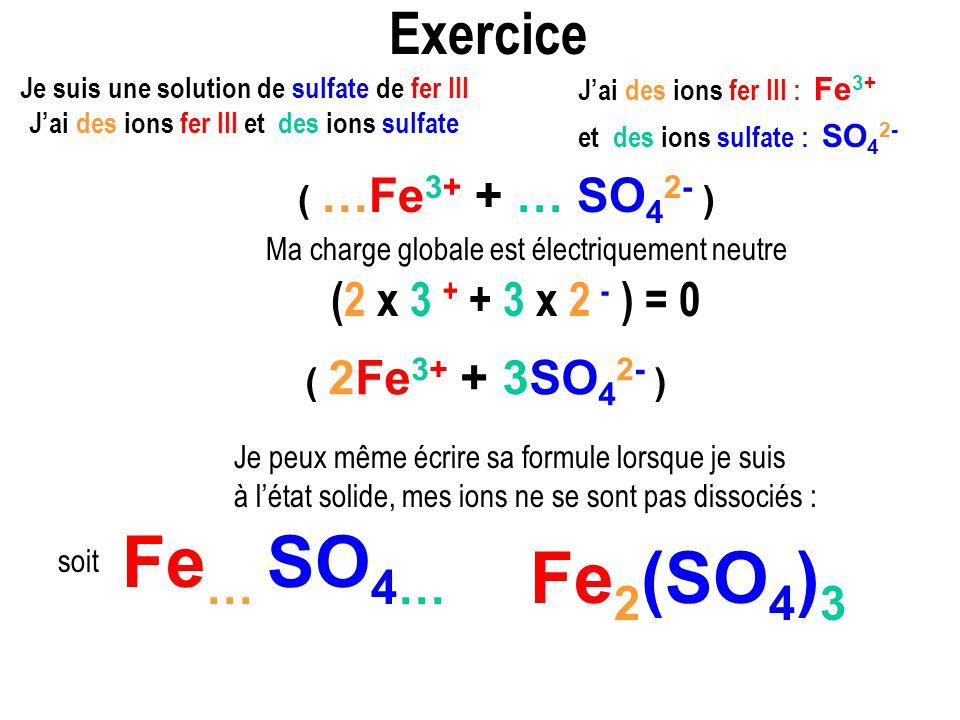 Exercice Je peux même écrire sa formule lorsque je suis à létat solide, mes ions ne se sont pas dissociés : Ma charge globale est électriquement neutre Je suis une solution de sulfate de fer III Jai des ions fer III et des ions sulfate ( …Fe 3+ + … SO 4 2- ) (2 x 3 + + 3 x 2 - ) = 0 Fe … SO 4… soit Jai des ions fer III : Fe 3+ et des ions sulfate : SO 4 2- Fe 2 (SO 4 ) 3 ( 2Fe 3+ + 3SO 4 2- )