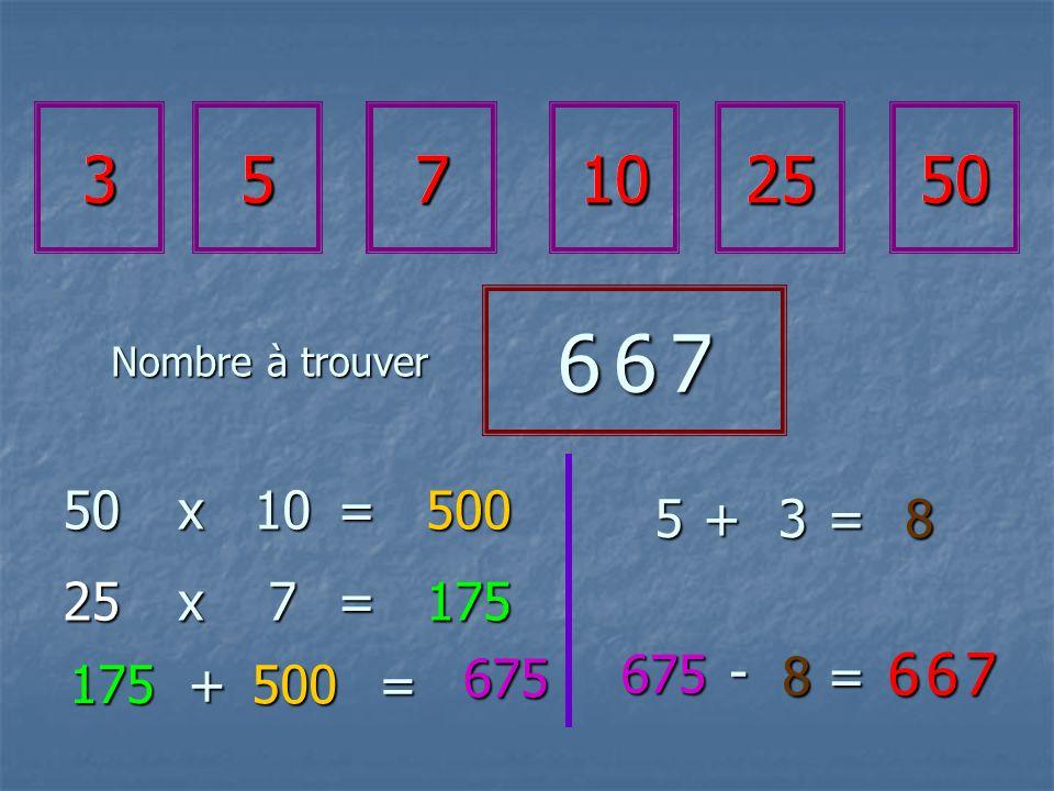 357102550 6 6 76 6 76 6 76 6 7 50x10=500 25x7=175 175 500+= 675 675 - 8= 6 6 76 6 76 6 76 6 7 5+3=8 357102550