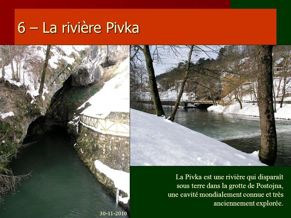 6 – La rivière Pivka La Pivka est une rivière qui disparaît sous terre dans la grotte de Postojna, une cavité mondialement connue et très anciennement
