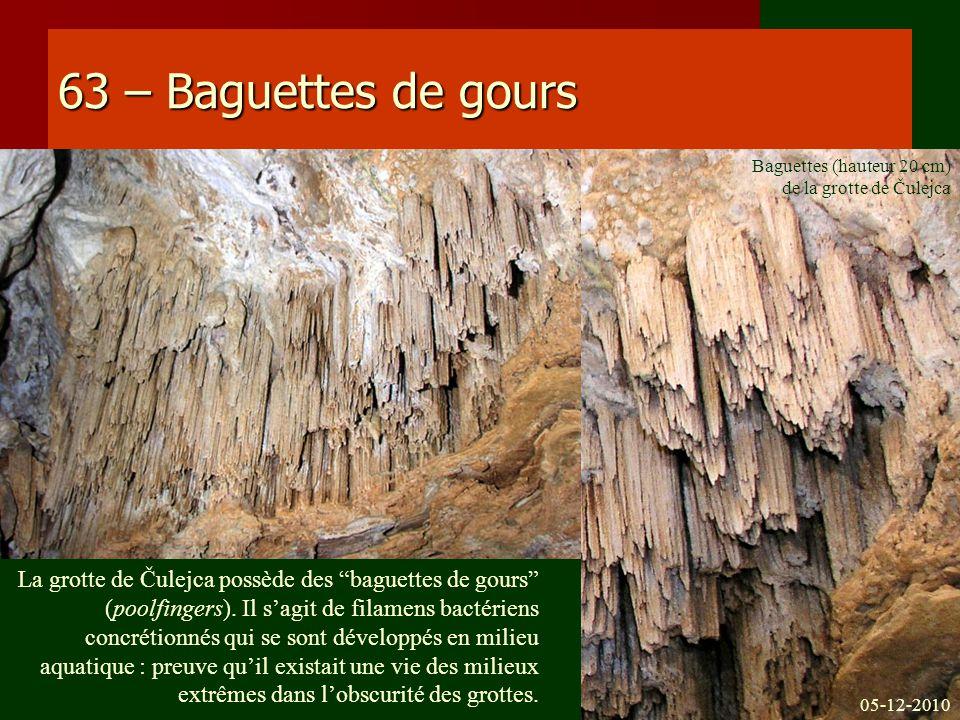 63 – Baguettes de gours La grotte de Čulejca possède des baguettes de gours (poolfingers). Il sagit de filamens bactériens concrétionnés qui se sont d
