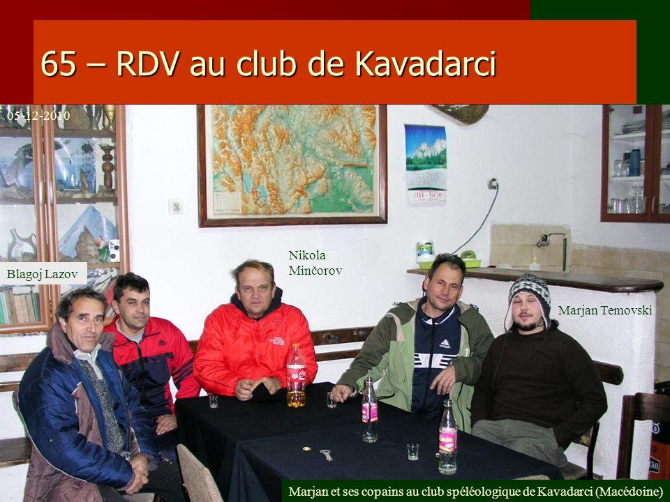 65 – RDV au club de Kavadarci Marjan et ses copains au club spéléologique de Kavadarci (Macédoine) Marjan Temovski Nikola Minčorov Blagoj Lazov 05-12-