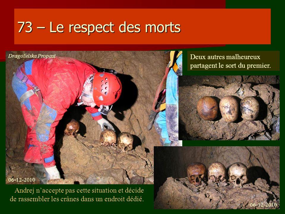 73 – Le respect des morts Andrej naccepte pas cette situation et décide de rassembler les crânes dans un endroit dédié. Deux autres malheureux partage