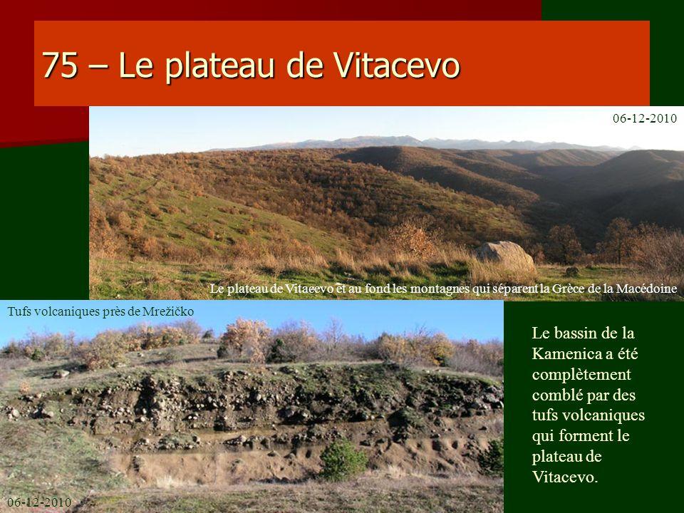 75 – Le plateau de Vitacevo Le bassin de la Kamenica a été complètement comblé par des tufs volcaniques qui forment le plateau de Vitacevo. Le plateau