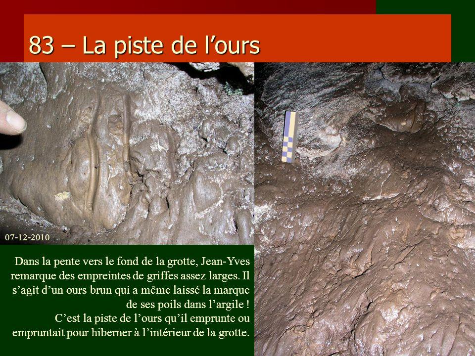 83 – La piste de lours Dans la pente vers le fond de la grotte, Jean-Yves remarque des empreintes de griffes assez larges. Il sagit dun ours brun qui
