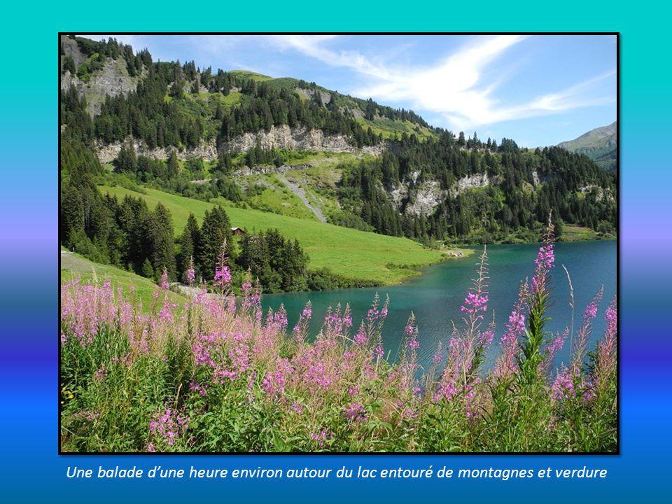 le barrage du lac Roselend et à lopposé le Roc du Vent