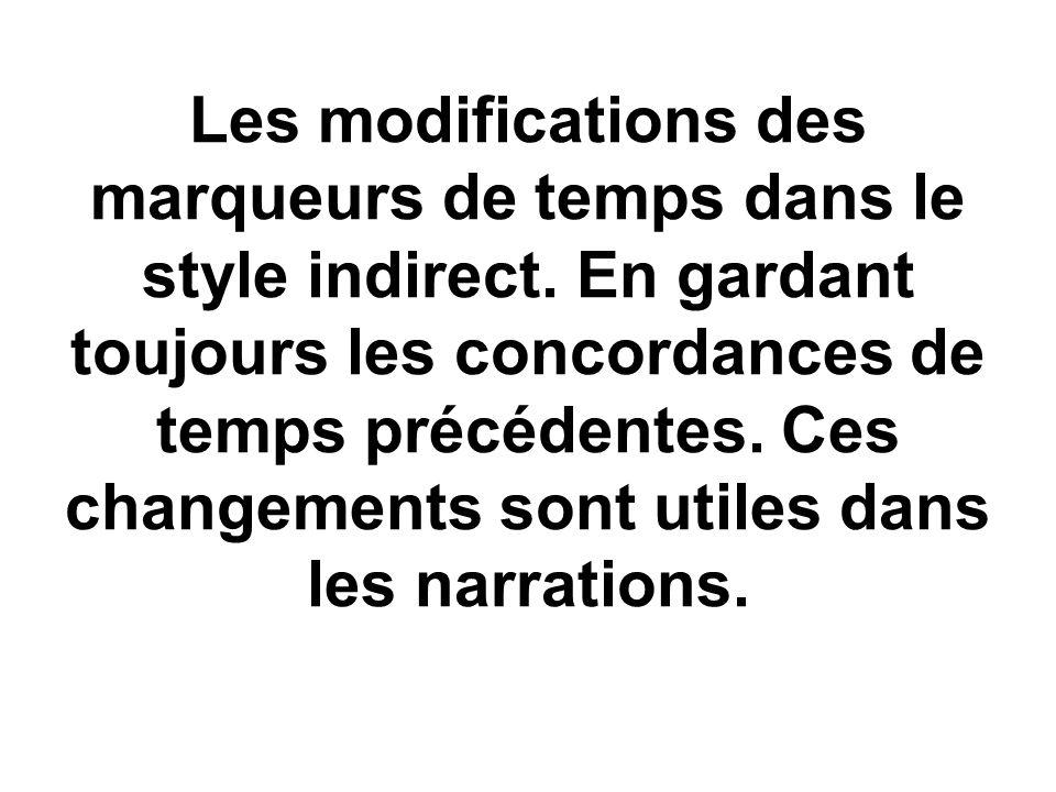 Les modifications des marqueurs de temps dans le style indirect. En gardant toujours les concordances de temps précédentes. Ces changements sont utile