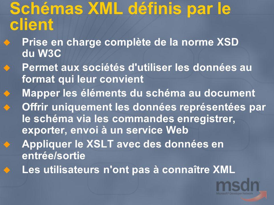 Schémas XML définis par le client Prise en charge complète de la norme XSD du W3C Permet aux sociétés d'utiliser les données au format qui leur convie