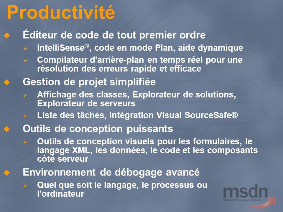 Productivité Éditeur de code de tout premier ordre IntelliSense ®, code en mode Plan, aide dynamique Compilateur d'arrière-plan en temps réel pour une