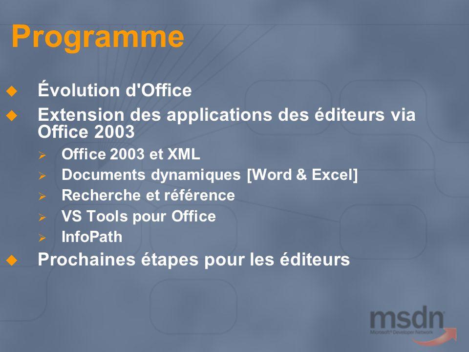 Création de documents dynamiques Créer un modèle dans Word ou Excel Attacher un schéma XML et marquer le document Codage de solution de document dynamique Implémenter l interface ISmartDocument - complément COM Autres fichiers solution XSLT Texte d aide (XHTML) Fragments de document (XML) Images Assemblys de code managé Créer un manifeste - juste un fichier XML Ajouter un pointeur au manifeste dans les propriétés du document Distribuer le document via une messagerie, SharePoint, etc.
