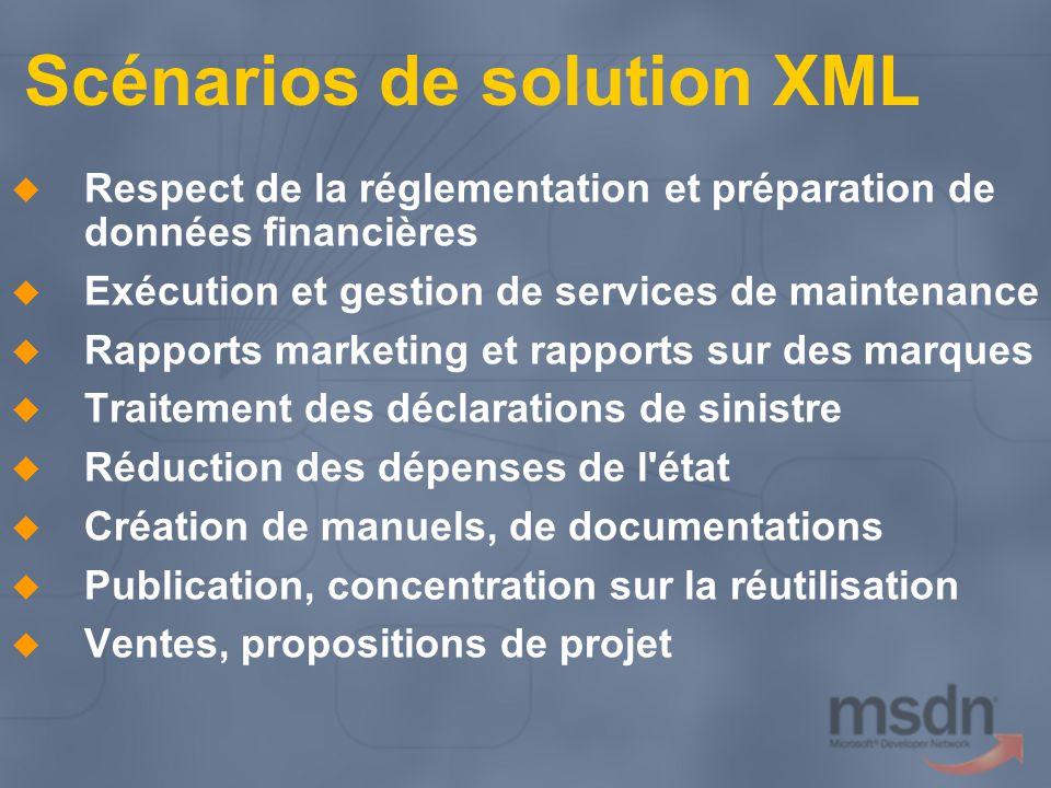 Scénarios de solution XML Respect de la réglementation et préparation de données financières Exécution et gestion de services de maintenance Rapports