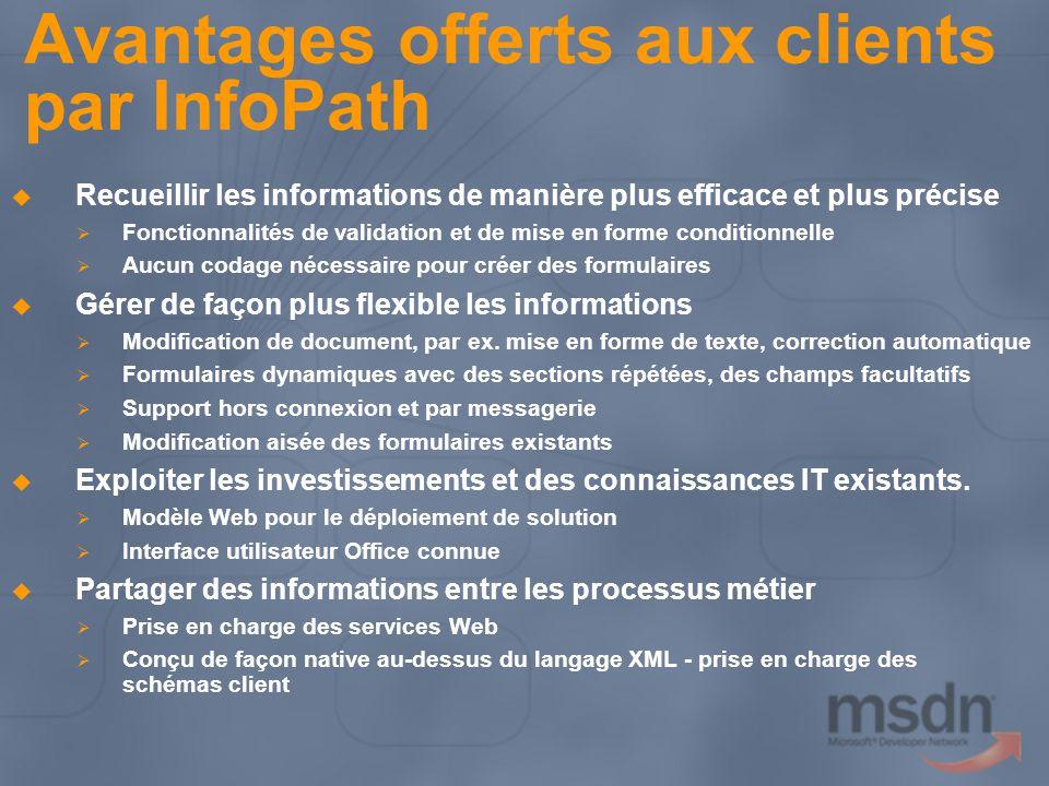 Avantages offerts aux clients par InfoPath Recueillir les informations de manière plus efficace et plus précise Fonctionnalités de validation et de mi